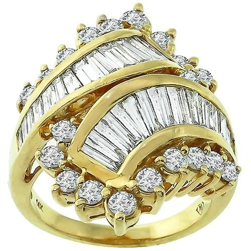 S Gold Beehive With Diamonds Cocktail Ring