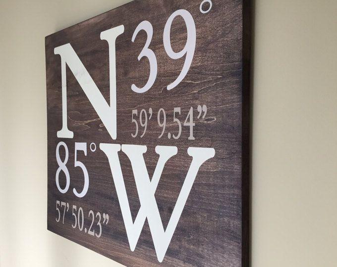 Panneau de bois latitude longitude