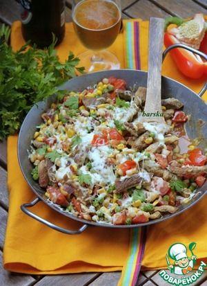 """Сковорода """"Мексика"""" со свиными шницелями Самые мои любимые блюда - это горячие """"сковороды"""" с разным набором продуктов! В этот раз вместе с конкурсом от GreenPan я хочу прогуляться по странам и континентам! Да-да, не только мы любим горячий жареный картофель поглощать прямо со сковороды... Итак, Мексика. Очень быстрая и сытная """"сковорода"""" для страны с жарким климатом, для большой тёплой компании или для семейного ужина, приготовленная на """"скорую руку""""..."""