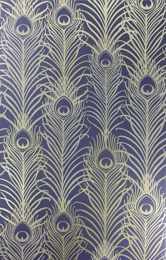 Osborne and Little Peacock Wallpaper by Matthew Williamson featuring peacock feathers in metallic and antique gold with tiny reflections, £98