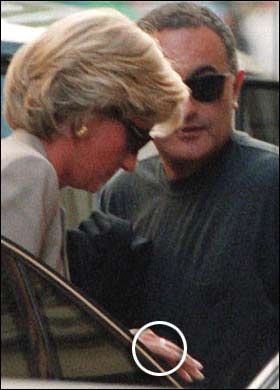 Diana, Princess of Wales (1961-1997) and Dodi Al-Fayed on the day they both died in a car crash in the Pont de l'Alma in Paris in August 1997.