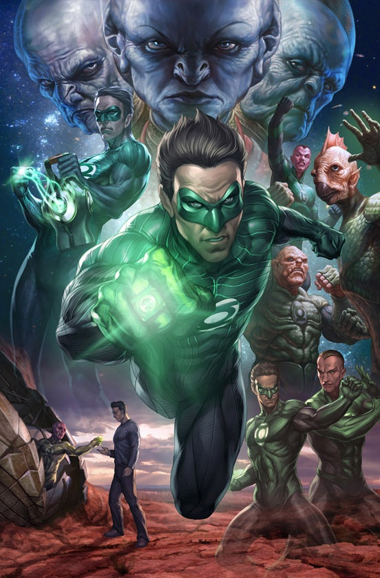 "DC Comic Book Artwork • Green Lanterns By Stanley ""Artgerm"" Lau. Follow us for more awesome comic art, or check out our online store www.7ate9comics.com"