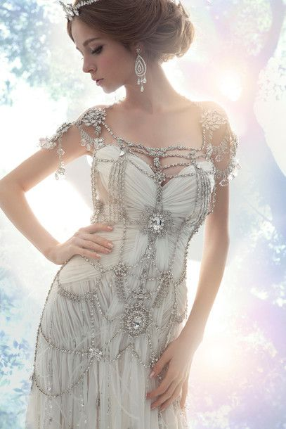 dress wedding clothes gown crystal fairy tale diamonds bejeweled boho vintage hippie summer outfits spring designer beach