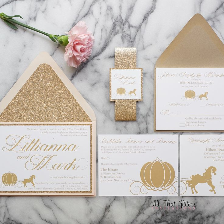 fairytale bridal shower invitation wording%0A Fairytale wedding invitations with glitter   fairy tale wedding invites    glitter wedding invitations   gold