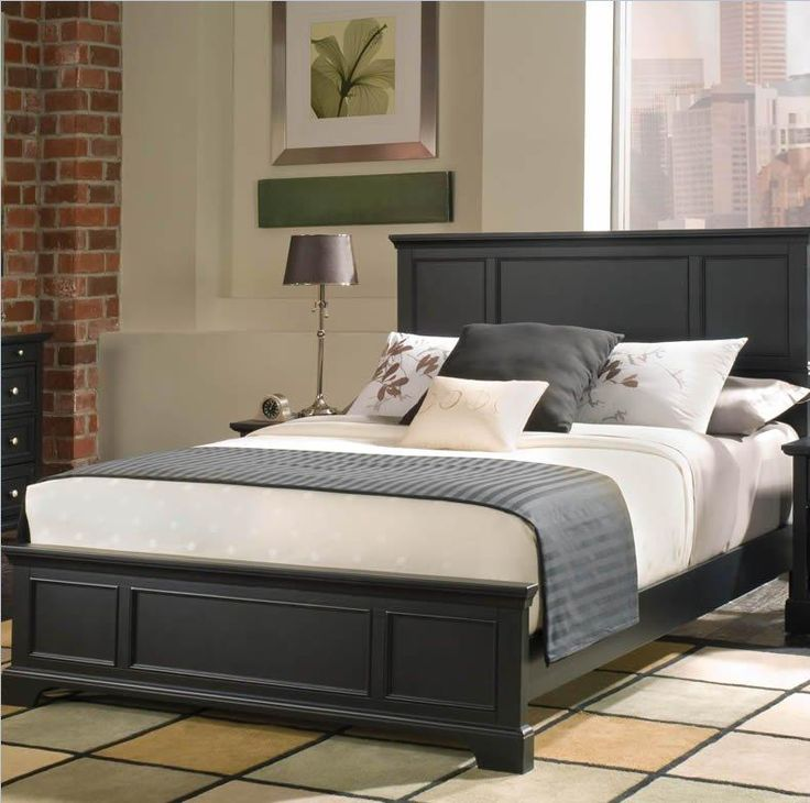 Home Styles Bedford Queen Bed, Nightstand And Chest, Black Ebony Finish   Bedroom  Furniture Sets