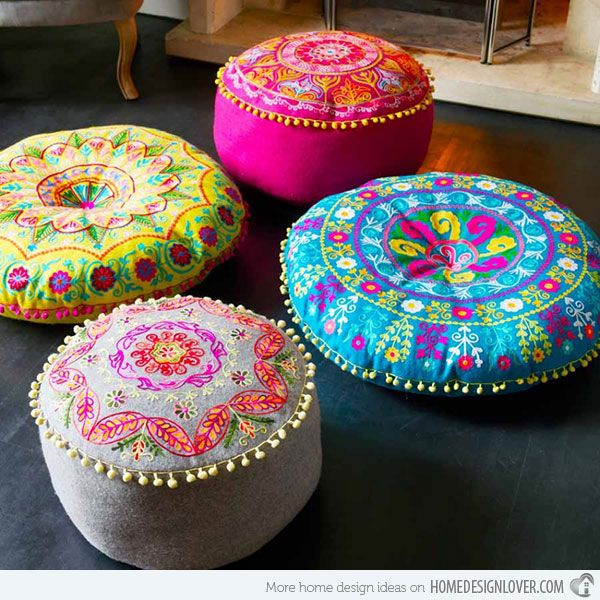 Felt Embroidered Gypsy Floor Cushions