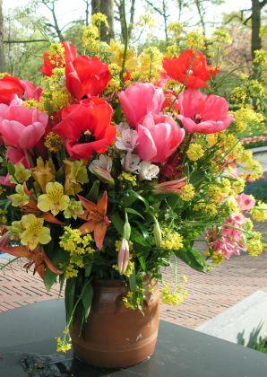 Prachtig groot veldboeket voor de zieke (of andere gelegenheid)! Beautiful field flowers for a wishing well or other occasion. Kaartje2go - creagaat beterschap