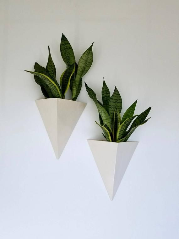 Set Of 3 Mini Matte White Ceramic Hanging Planters Wall Hanging