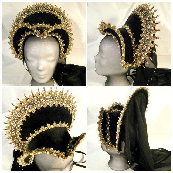 Capilla francesa Renacimiento, Tudor capilla francesa, Anne Boleyn, LARP, adornos de corona desmontable