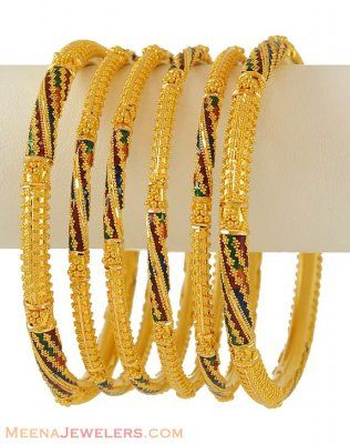 22k Gold enamel paint bangles ( Set of Bangles )
