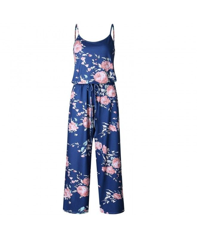 1606be944ef Women Sexy Sleeveless Spaghetti Strap Floral Printed Harem Jumpsuit Rompers  - Dark Blue - C0182X96I7A