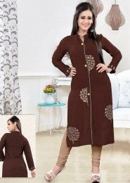 Party Wear Brown Rayon Embroidered Work Kurti
