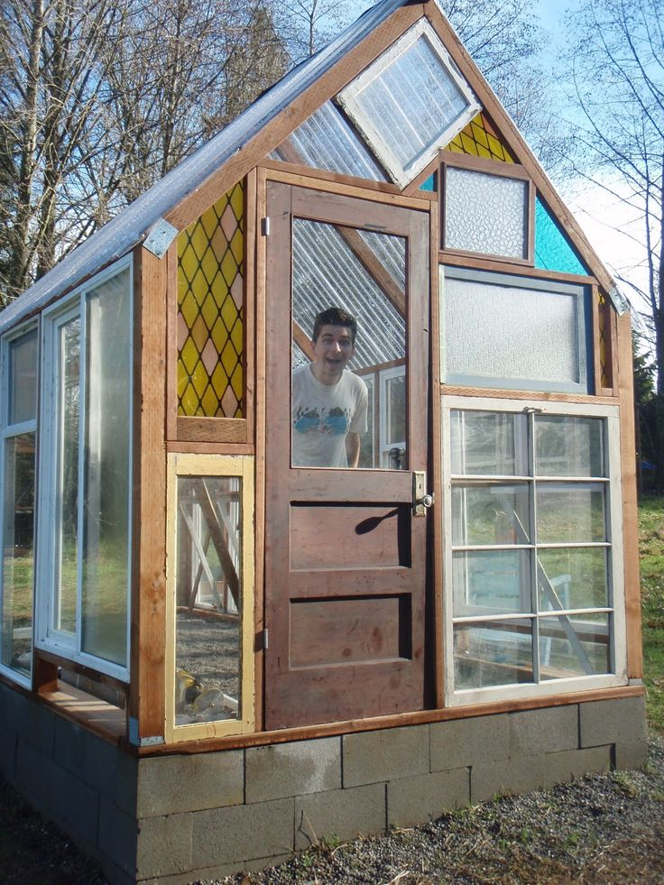 salvaged window greenhouse -