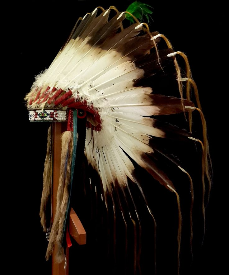 Lakota Feather War Bonnet - replica (side view)