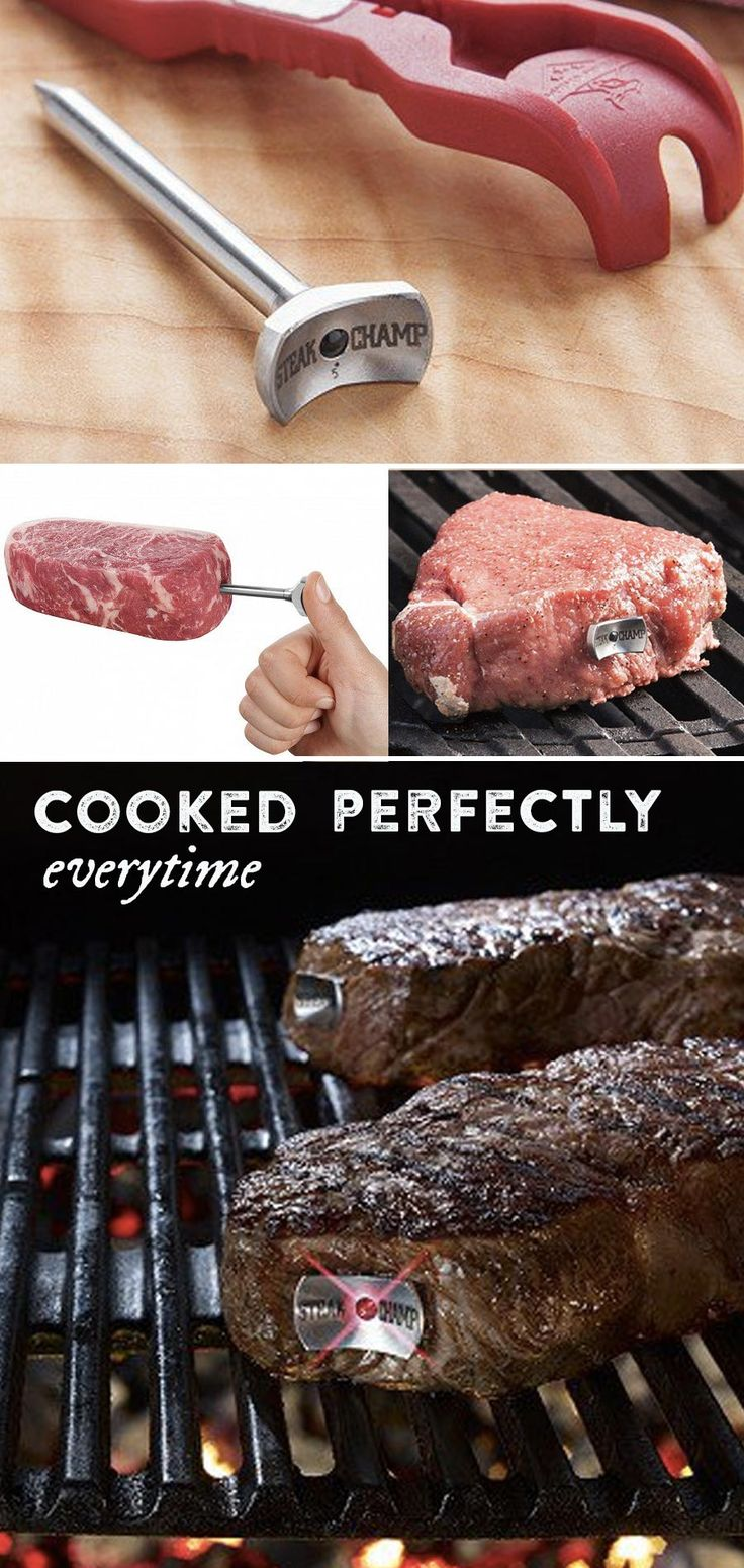 This patented steak thermometer uses three LED lights to tell you when the steak is medium rare, medium, and medium well. No more guessing and no more raw or overdone meat