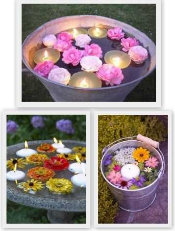 Floating Flower Inspiration, summer garden party decor, easy outdoor patio decor, floating candles, rustic decor