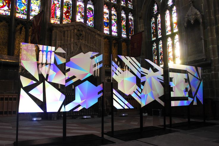 Urban Projections projection mapped installation onto perspex - Geowaltz, for Nottingham Light Night