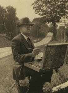 Robert Emmett Owen painting en plein air, ca. 1930s