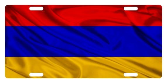 Armenia Flag Custom License Plate Armenian Tricolour Emblem Wave Version In 2020 Armenia Flag Armenian Flag Armenia