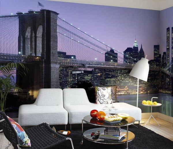 New York City Skyline in blue featuring the Brooklyn Bridge. http://www.wowwallpaperhanging.com.au/cityscape-wallpaper-murals/
