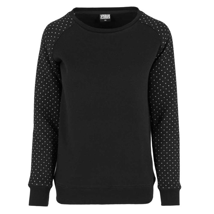 Urban Classics Basic dames raglan top sweatshirt met gespikkelde lange mouwen zwart black polkdots white sweater jumper