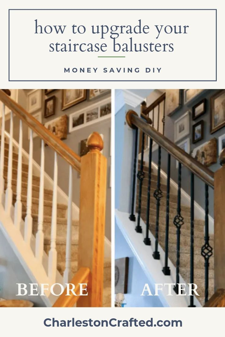 How To Replace Wooden Balusters With Iron The Easy And Cheap Way | Replacement Wood Stair Balusters | Cheap | Horizontal | Hallway | Split Entry | Cast Iron