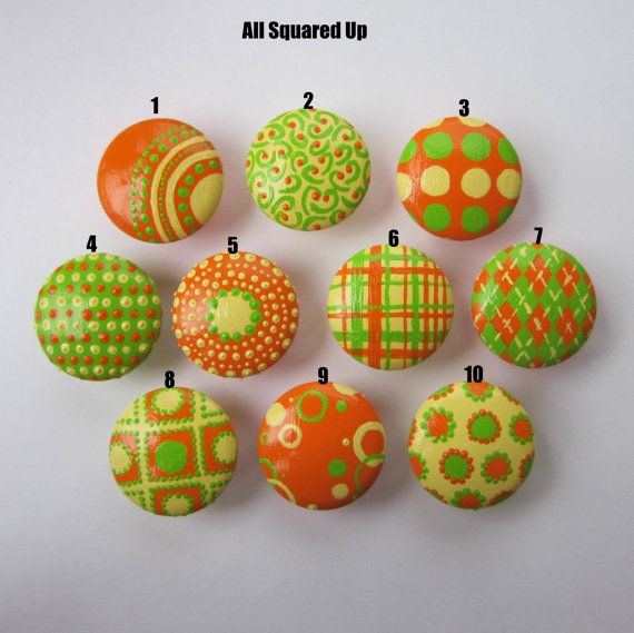 Set of 4Yellow Green Orange DRAWER KNOBS Mix and Match-choose which 4 designs-by AllSquaredUp, $15.00