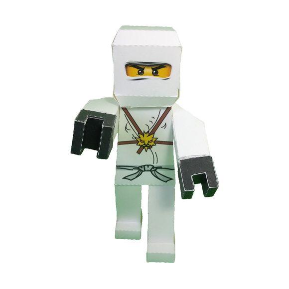 Personagem 3D Ninjago Zane em papel