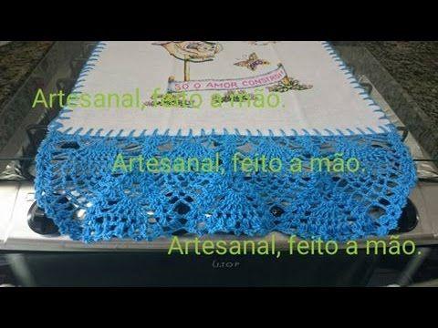 Barrado em crochê para pano de prato ponto abacaxi parte 4 - YouTube