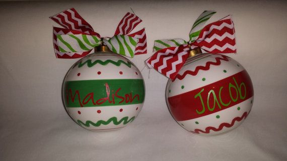 """One Christmas Ornament Personalized Custom Name Ornament 5.5"""" Large Glass Ceramic Ball"""