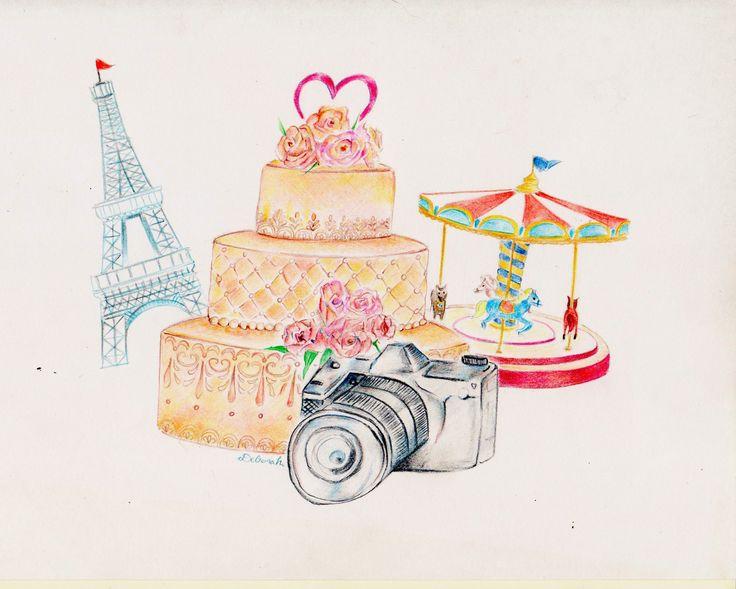 """Illustrazione ad acquarello """"Atmosfera parigina"""""""