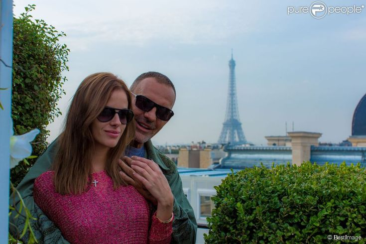 Exclusif - Christian Audigier et sa compagne Nathalie Sorensen à Paris le 27 septembre 2013