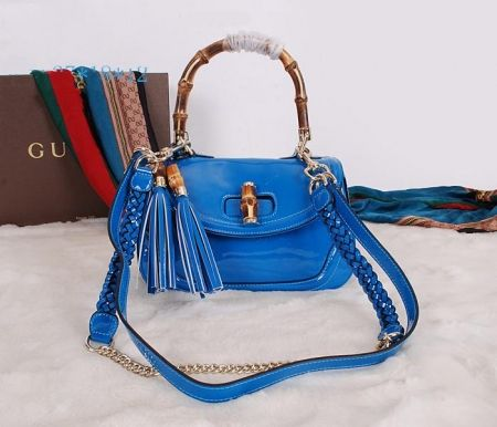 Gucci New Bamboo Leather Top Handle Bag Blue