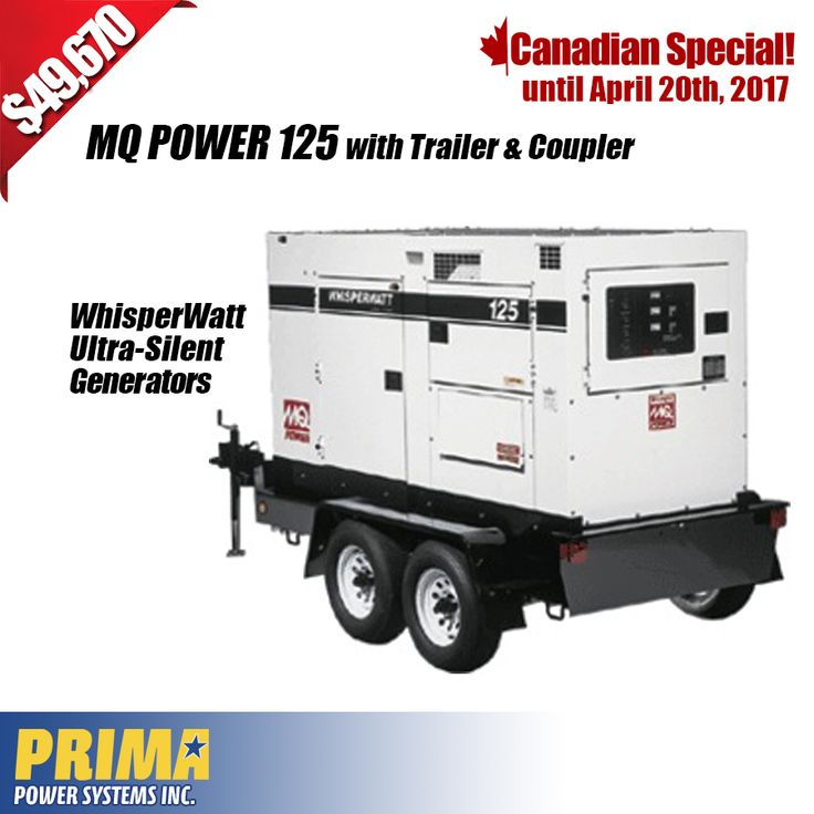 CANADIAN SPECIAL - MQ POWER 125 with Trailer & Coupler - ONLY $49,670.00 + T&S. For more information call Harold or Joel  1 604-746-0606 #generators #Canada