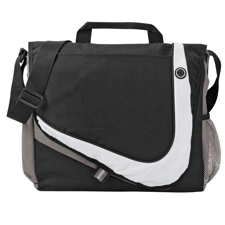 Racer Messenger Bag  Made from polycanvas. Open main compartment. Full organisation under velcro closure flap. Under the flap there are 3 pen holders, with a mesh pocket over a polycanvas pocket. The modern feel has everything including a place for your iPod headphones on the front flap.On one end of the bag there is a grey mesh holder (perfect for your water bottle) whilst on the other end you can store your mobile phone. Pens, sports bottle, mobile phone and notepad not included.