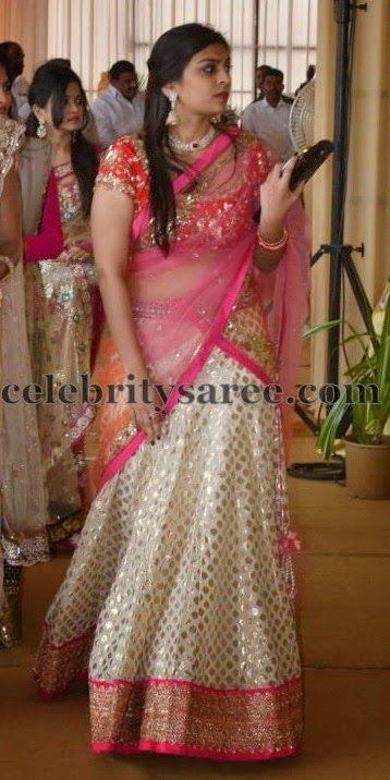 Pretty Lady in Cream Benaras Half Sari   Saree Blouse Patterns