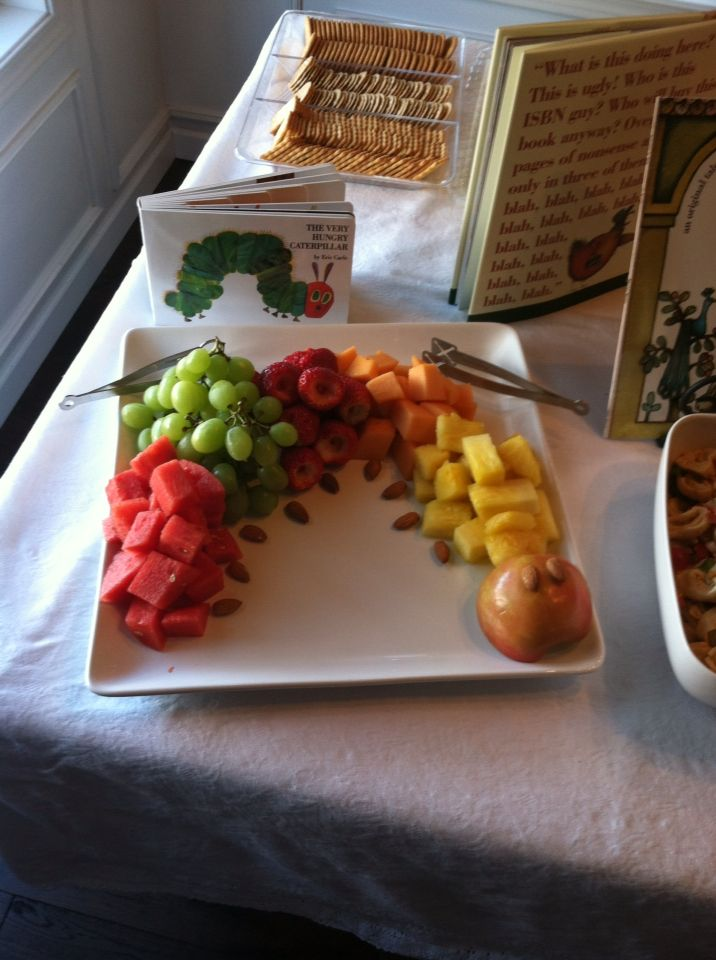 Children's book theme baby shower - caterpillar shaped fruit plate with almonds for the feet