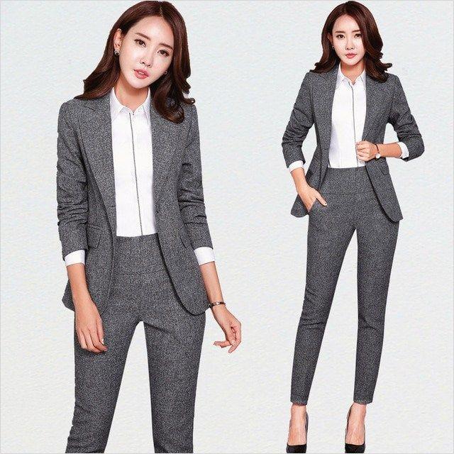 Gray Pant Suits Ladies