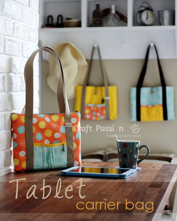 Free tablet bag sewing pattern. #tablet #tote #sewing