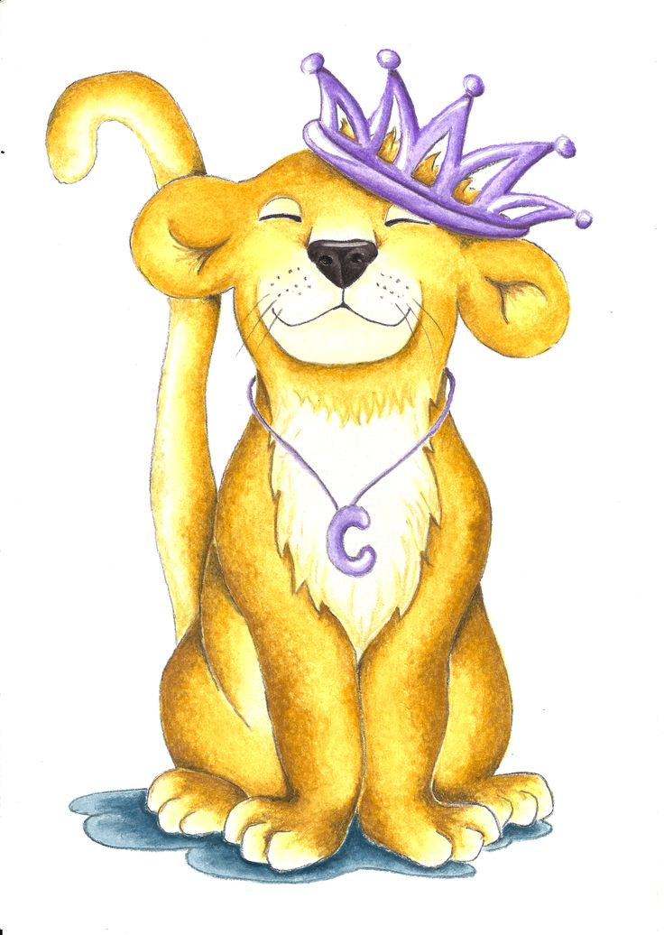 Charlotte the brave Lion cub. A commissioned illustration for a little girls T-shirt design. For your own design please contact me.