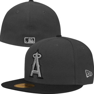 7a6b40cbaed Los Angeles Angels of Anaheim New Era Metallic 59Fifty MLB Hat (Charcoal  Gray)