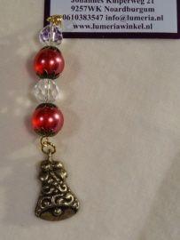 Rode kristal hanger met bel nr 2