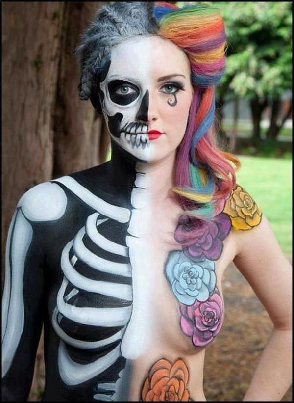 Imagens de caveira Pinterest: Rainbows Hair, Funny Pictures, Body Paintings, The Faces, Body Art, Faces Makeup, Costume, Paintings Lady, Crazy Makeup