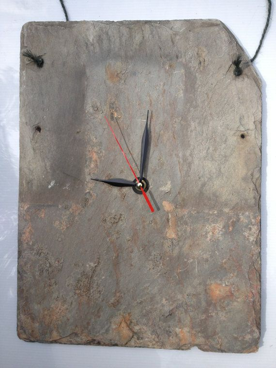 Man Cave Clock made in Vermont out of old roof slate and recycled clock parts on Etsy, $10.00