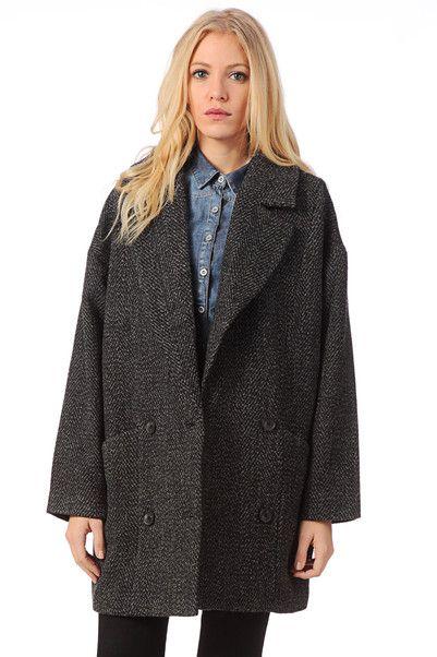 Manteau long en laine Trish Noir Selected Femme sur MonShowroom.com