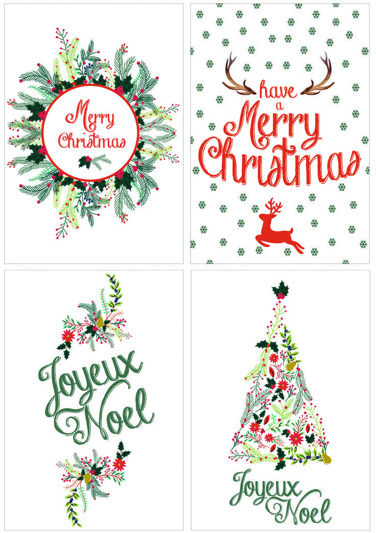 DIY: Cartes de Noël à télécharger#Carte de #Noël | Diy christmas