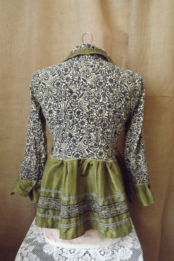 Lagenlook Boho Upcycled Blouse Jacket Passage to India with Ribbon & Sari Skirt Size S-M