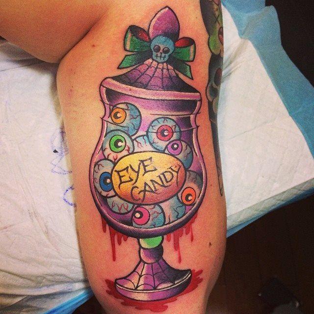 """Eye Candy"" by @Mimsy Gleeson - Mimsy's Trailer Trash Tattoo - http://www.trailertrashtattoo.net"