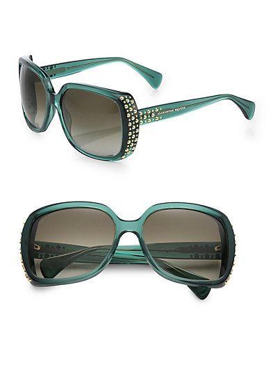 Studded Rectangular Sunglasses by Alexander McQueen