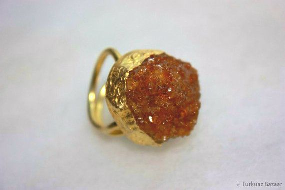 Hatice Handcrafted Rough Citrine Stone Ring Set by TurkuazBazaar, $55.00